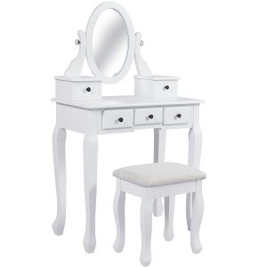 Bathroom Vanity Desk Hair Dressing Organizer Drawer, White Dresser