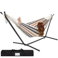 Hammock With Space Saving Steel Stand Includes Portable Carrying Case