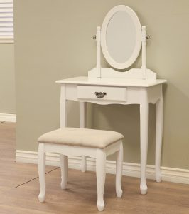 Frenchi Home Furnishing 3-Piece Vanity Set, white dresser