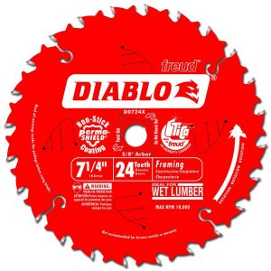 Freud D0724X Diablo 24 Tooth ATB Carbide Framing Saw Blade with and Diamond Knockout Arbor