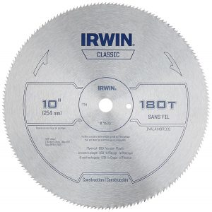 IRWIN Tools Classic Series Steel Table Miter Circular Saw Blade, 10-Inch 180T
