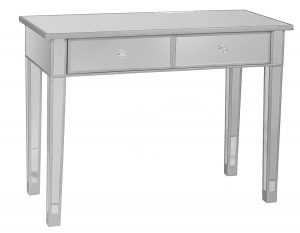Southern Enterprises Mirage Mirrored 2 Drawer Media Console Table, white dresser