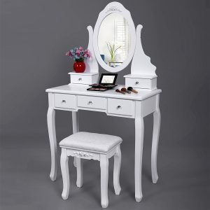 SONGMICS Vanity Set with Mirror and Stool Make-up Dressing Table 5 Drawers with 2 Dividers, white dresser