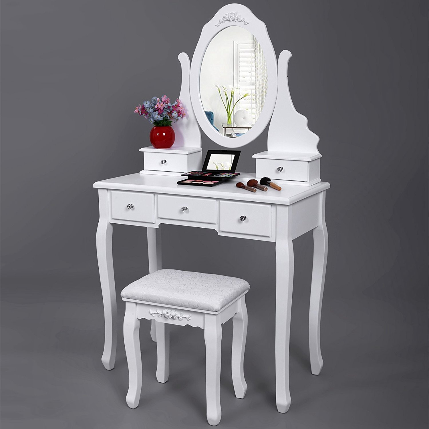 Songmics Vanity Set With Mirror And Stool Make Up Dressing