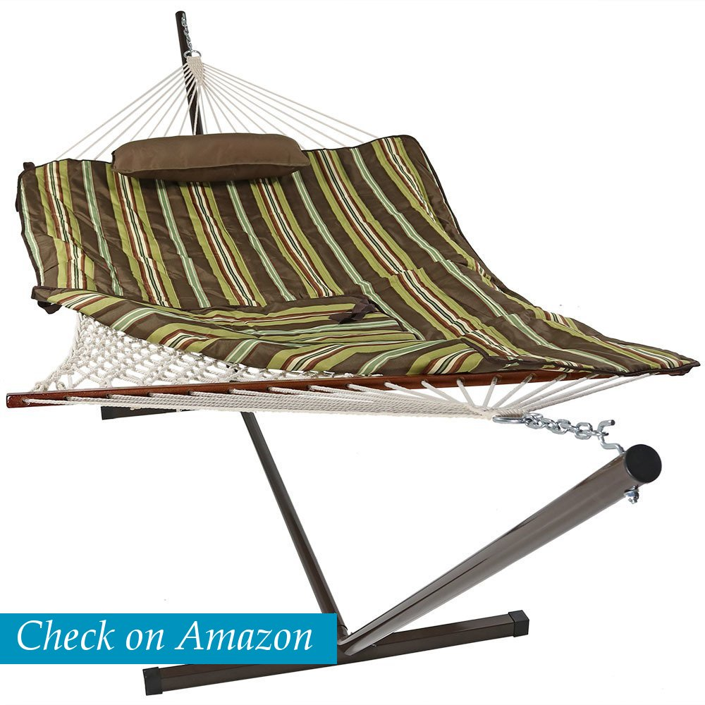 Sunnydaze Decor Cotton Rope Hammock with 12 Foot Steel Stand