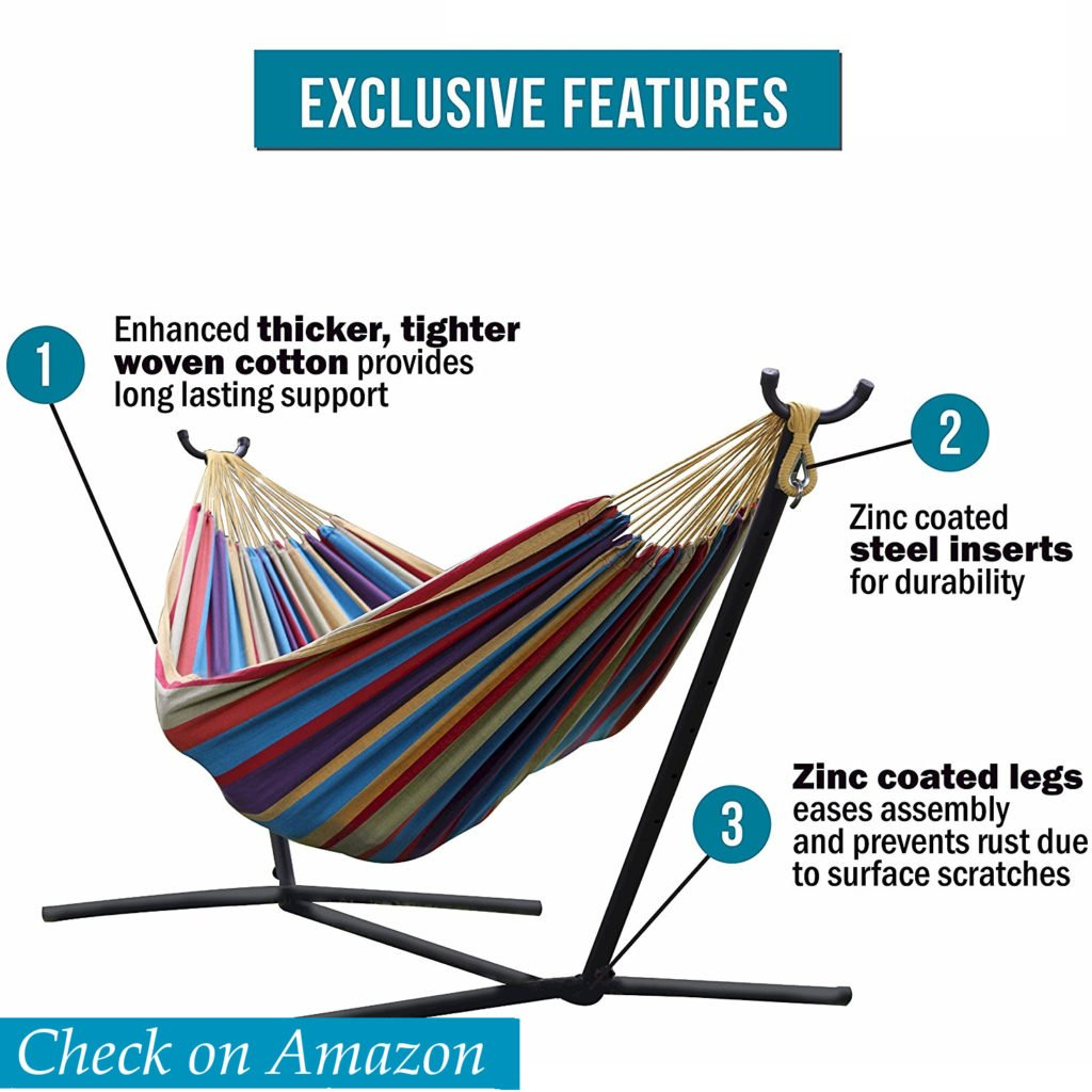 Vivere Double Hammock with Space-Saving Steel Stand, hammock with stand review